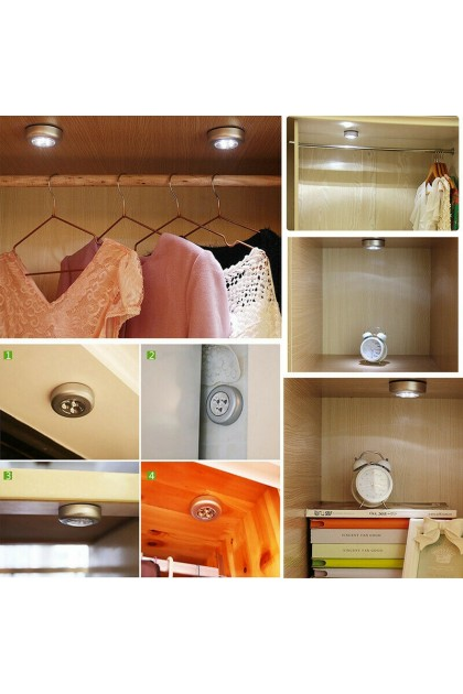 (Ready Stock) 3 LED Battery Powered Stick Tap Touch Lamp Emergency Light for Closet Wall Car