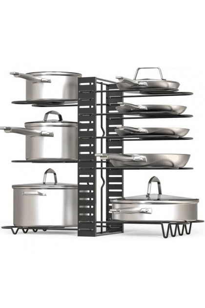 Pots and Pans Organizer Pot Rack Organizer Adjustable 8/4 Layer Pan Rack for Kitchen Counter Cabinet