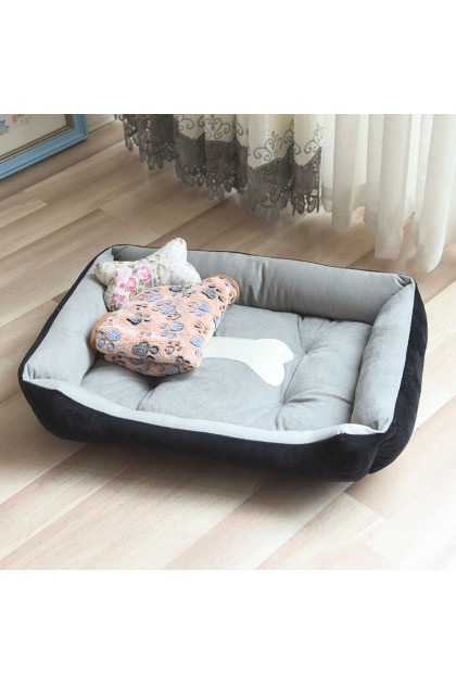 Washable Pet Bed Dog Bed Large Size Soft Kennel Bed Cotton Cat Bed with Bone Kucing Bed